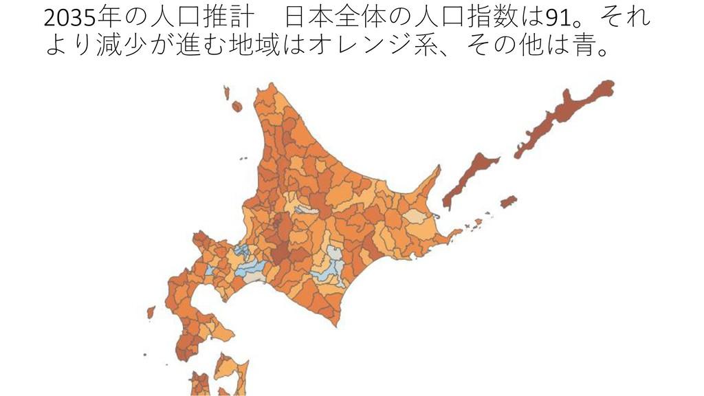 2035年の人口推計 日本全体の人口指数は91。それ より減少が進む地域はオレンジ系、その他は...