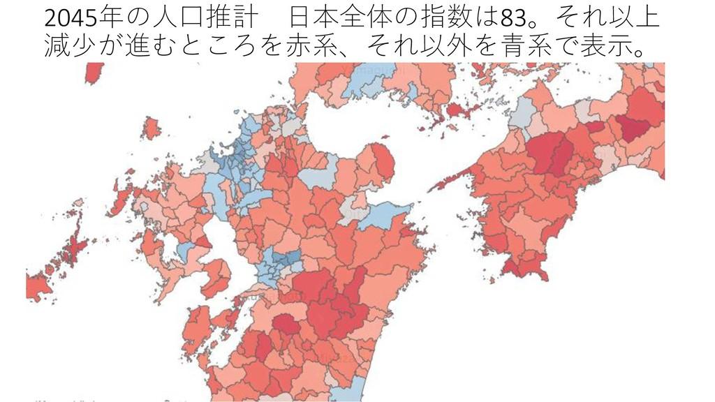 2045年の人口推計 日本全体の指数は83。それ以上 減少が進むところを赤系、それ以外を青系で...