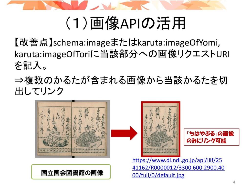 (1)画像APIの活用 【改善点】schema:imageまたはkaruta:imageOfY...