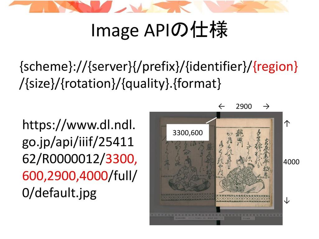 Image APIの仕様 {scheme}://{server}{/prefix}/{iden...
