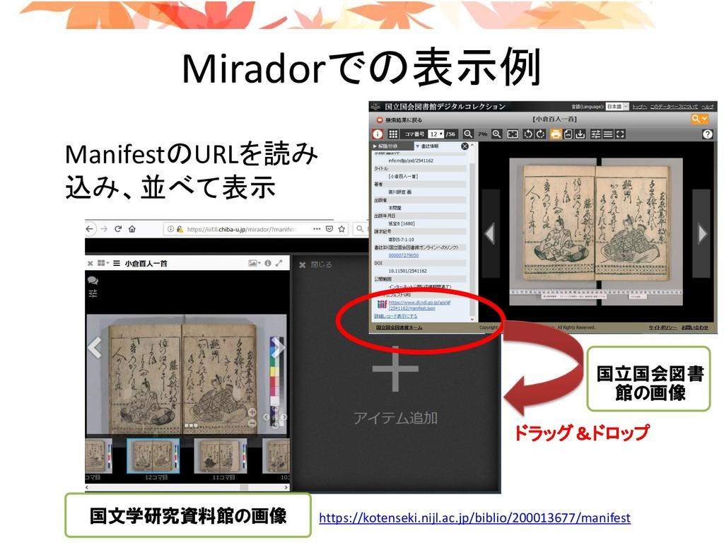 Miradorでの表示例 ManifestのURLを読み 込み、並べて表示 ドラッグ&ドロップ...