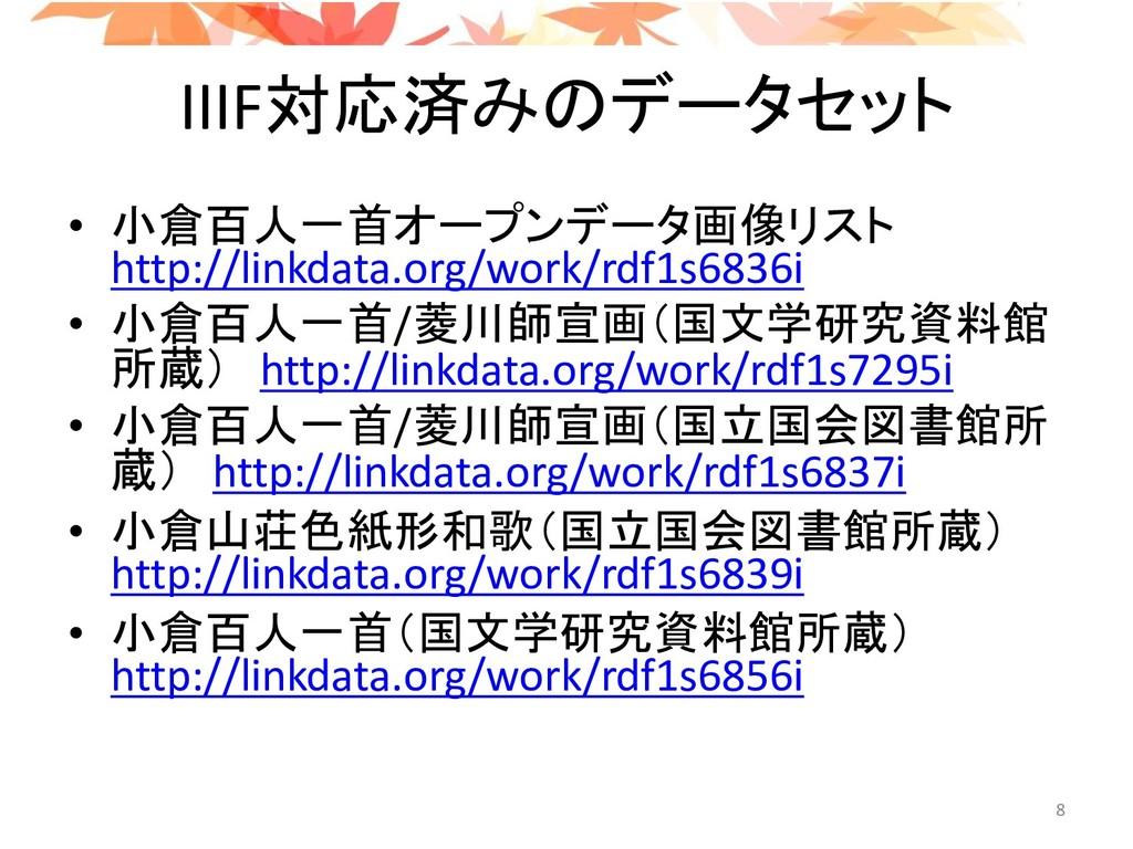 IIIF対応済みのデータセット • 小倉百人一首オープンデータ画像リスト http://lin...