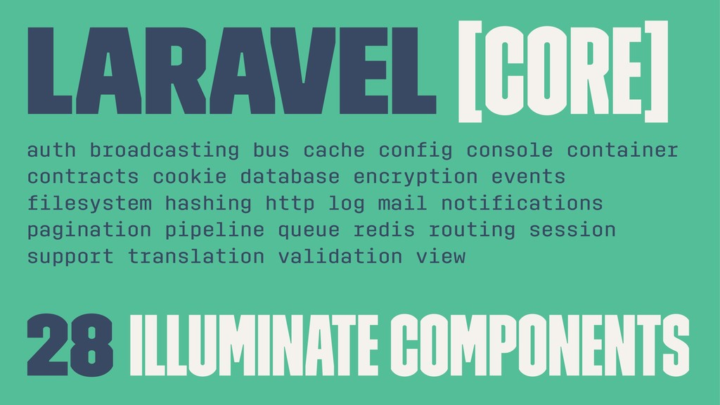 Laravel [Core] auth broadcasting bus cache confi...