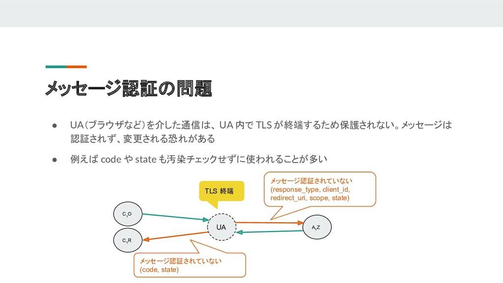 ● UA(ブラウザなど)を介した通信は、 UA 内で TLS が終端するため保護されない。メッ...