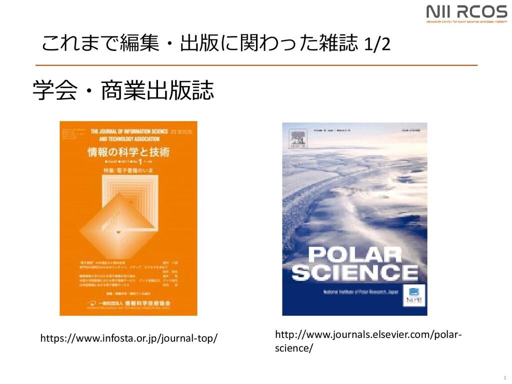 これまで編集・出版に関わった雑誌 1/2 2 http://www.journals.else...