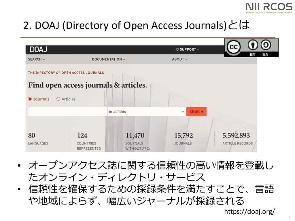 2. DOAJ (Directory of Open Access Journals)とは 1...