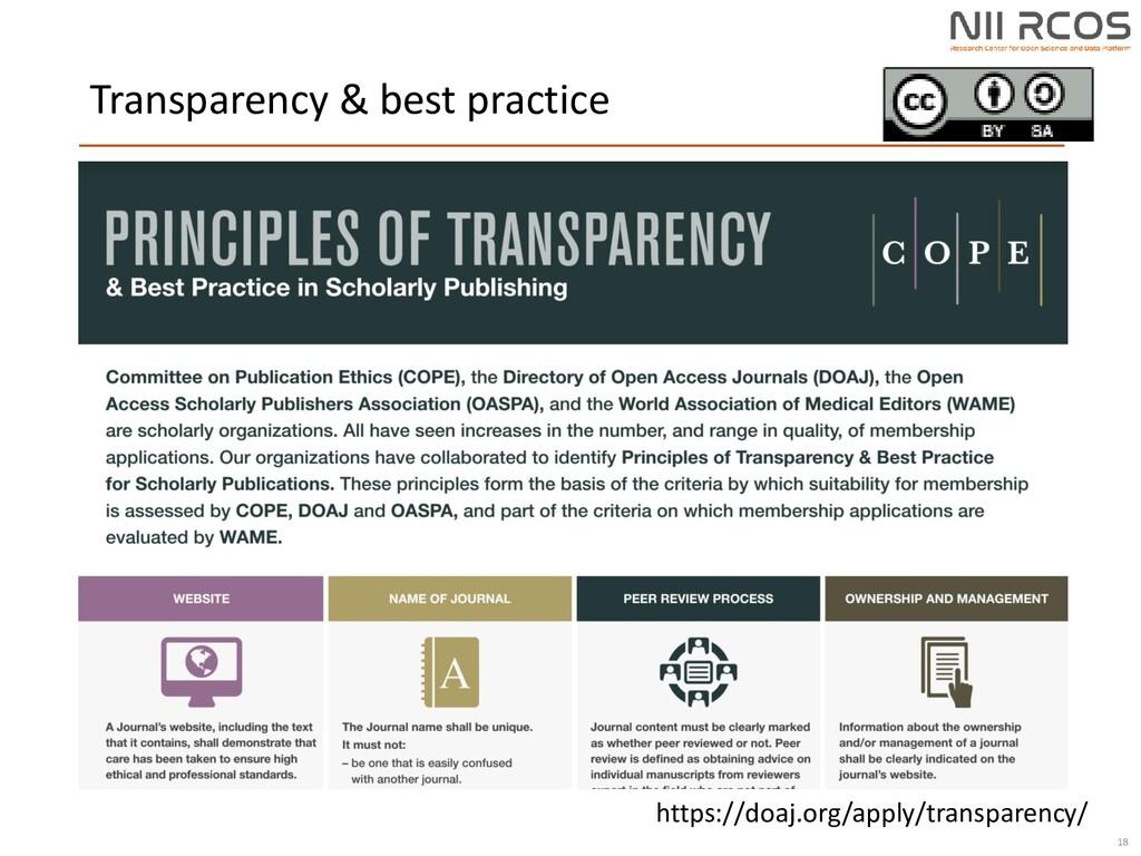 Transparency & best practice 18 https://doaj.or...