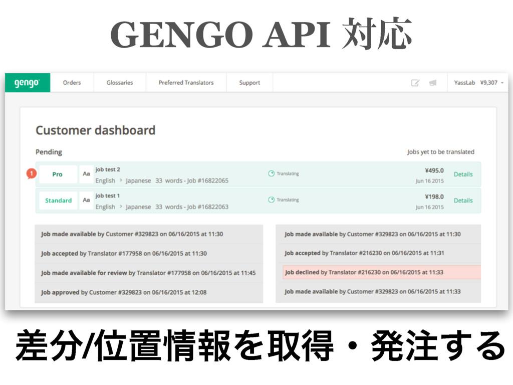 GENGO API ରԠ ࠩ/ҐஔใΛऔಘɾൃ͢Δ