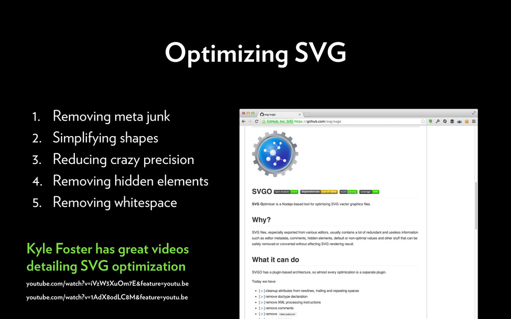 Optimizing SVG 1. Removing meta junk 2. Simplif...