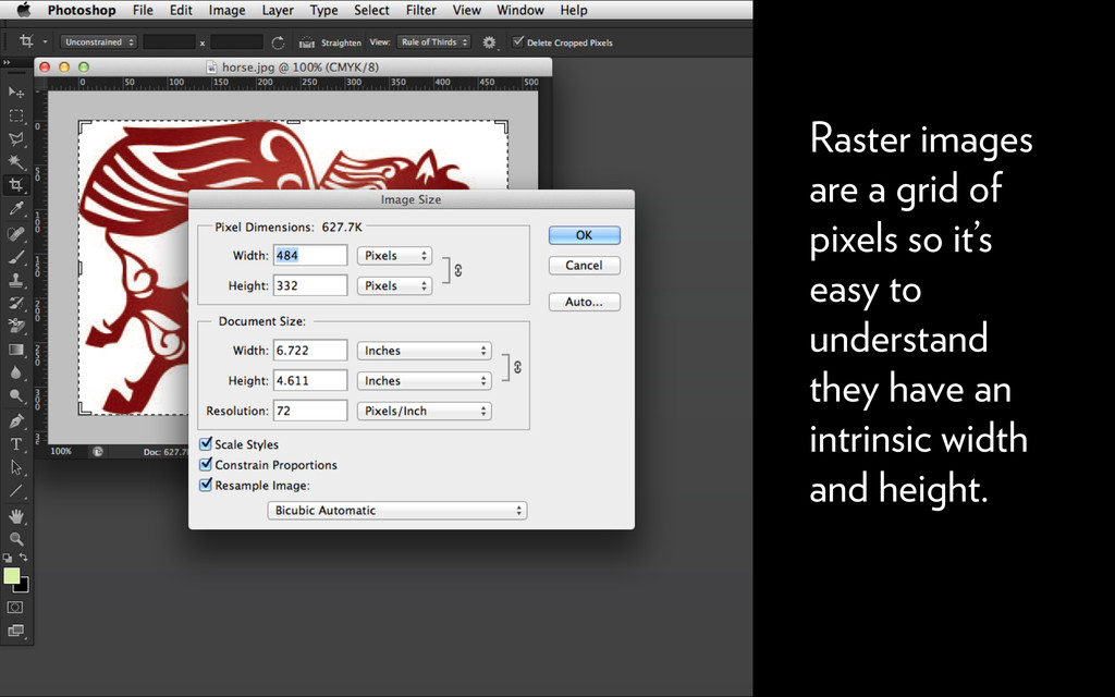 Raster images are a grid of pixels so it's easy...