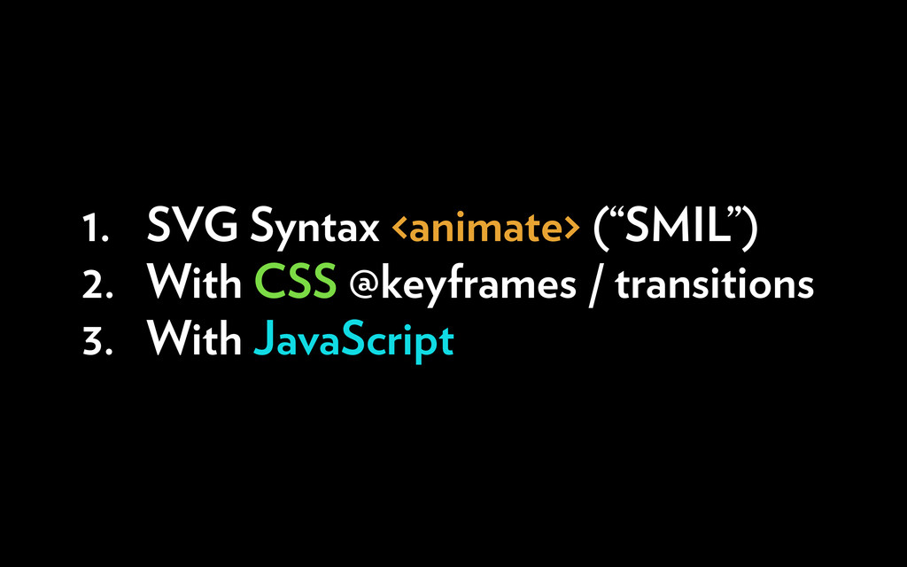 """1. SVG Syntax <animate> (""""SMIL"""") 2. With CSS @k..."""