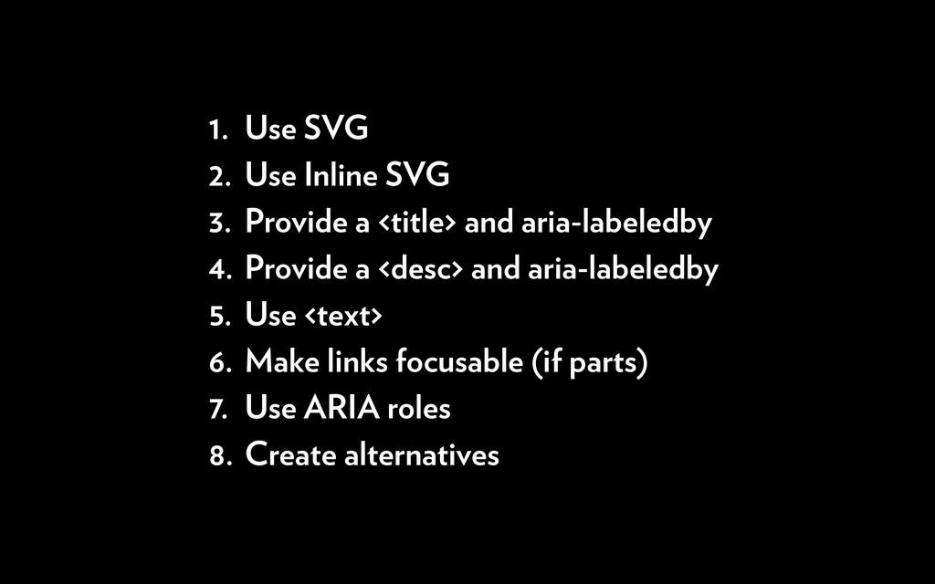 1. Use SVG 2. Use Inline SVG 3. Provide a <titl...