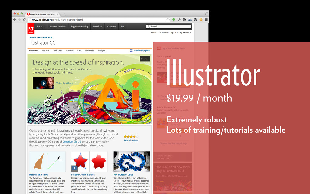 Illustrator $19.99 / month Extremely robust Lot...