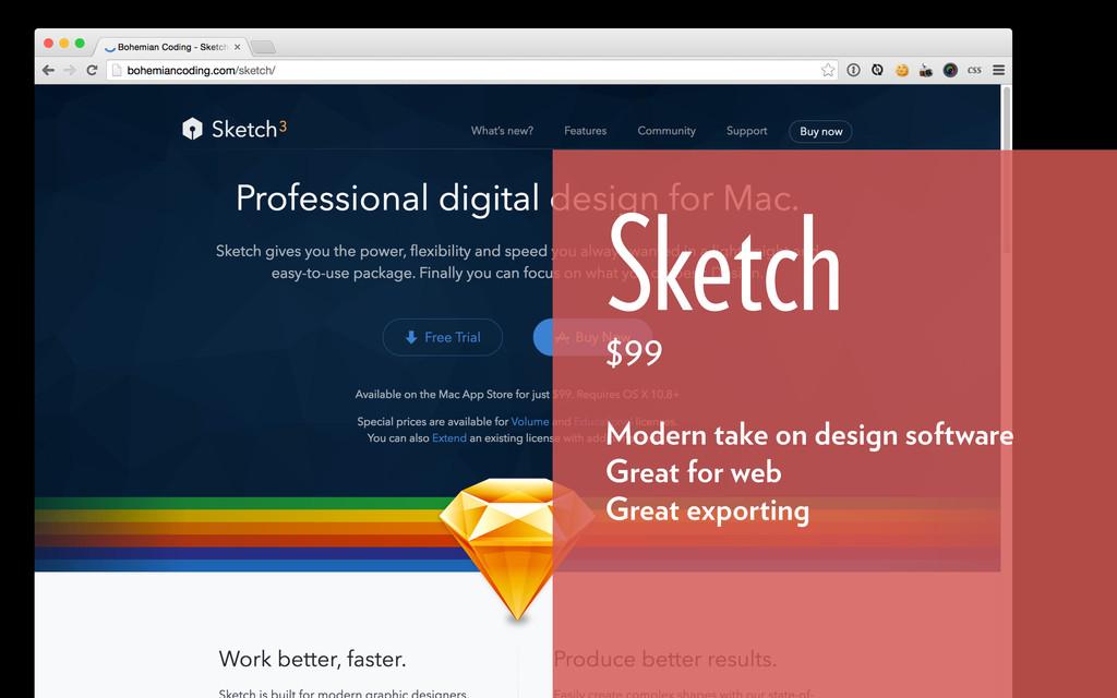 Sketch $99 Modern take on design software Great...