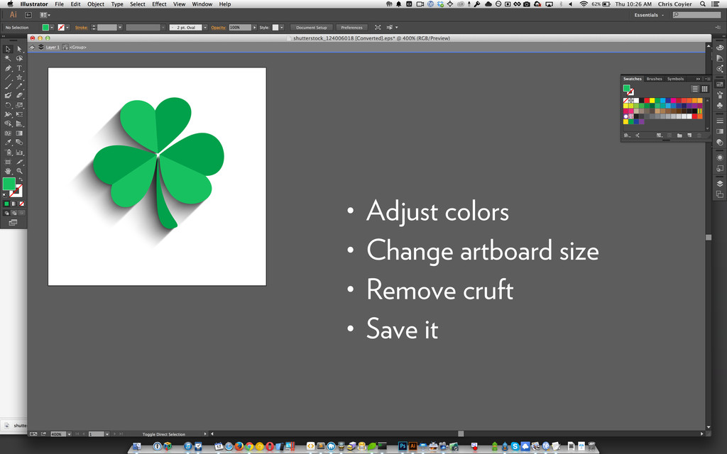 • Adjust colors • Change artboard size • Remove...