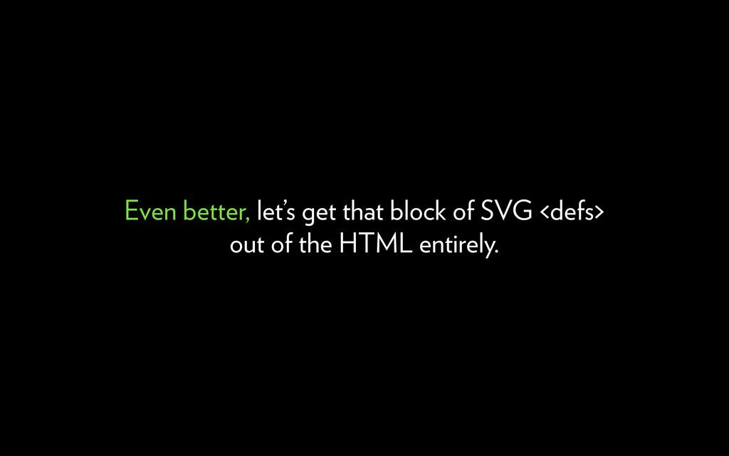Even better, let's get that block of SVG <defs>...