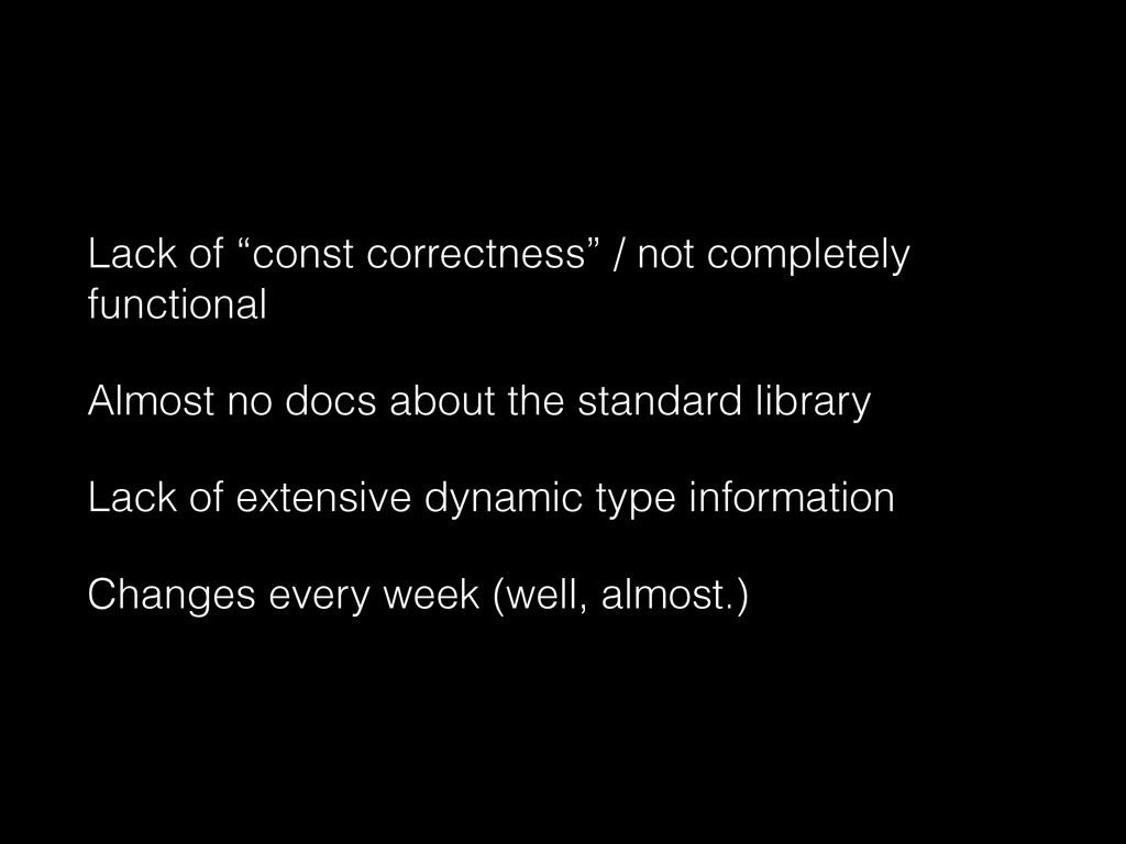 "Lack of ""const correctness"" / not completely fu..."