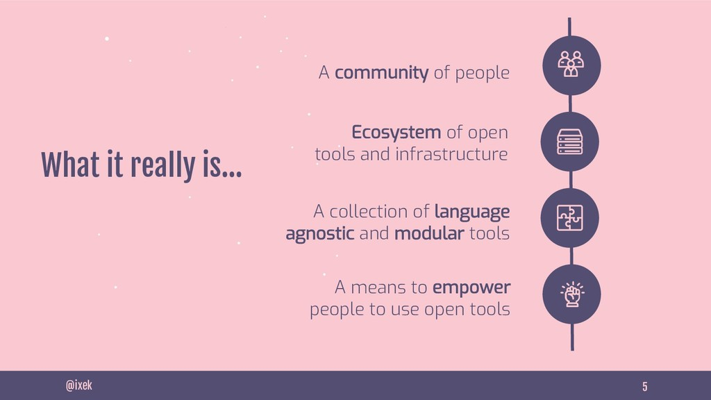 5 What it really is… @ixek Ecosystem of open to...