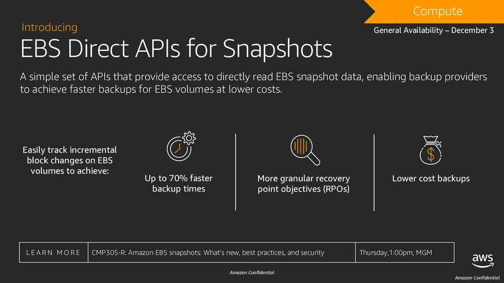 Amazon Confidential EBS Direct APIs for Snapsho...