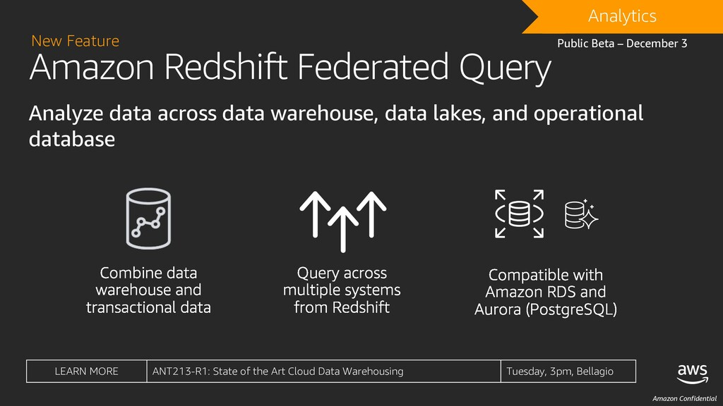 Amazon Confidential Amazon Redshift Federated Q...