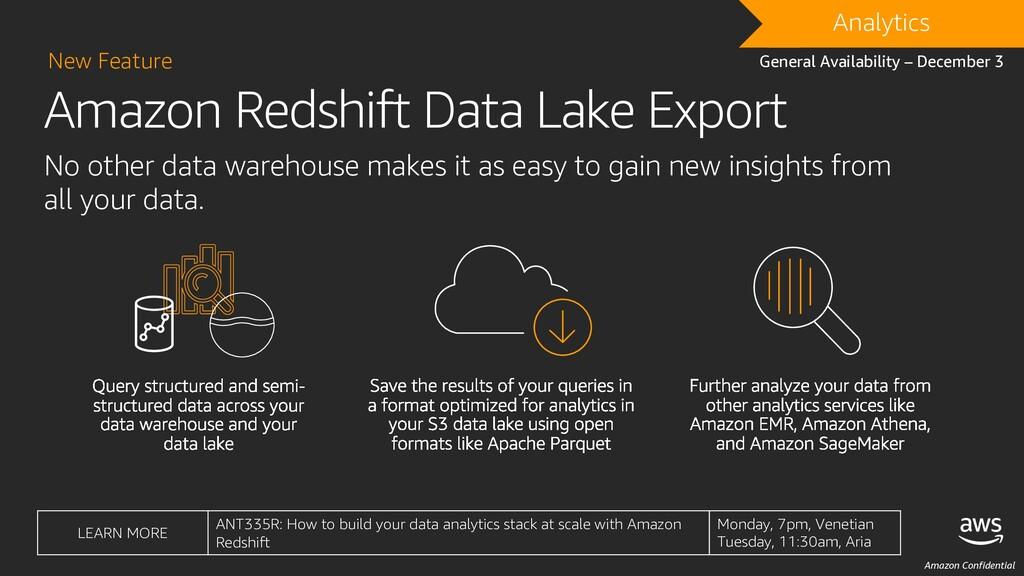 Amazon Confidential Amazon Redshift Data Lake E...