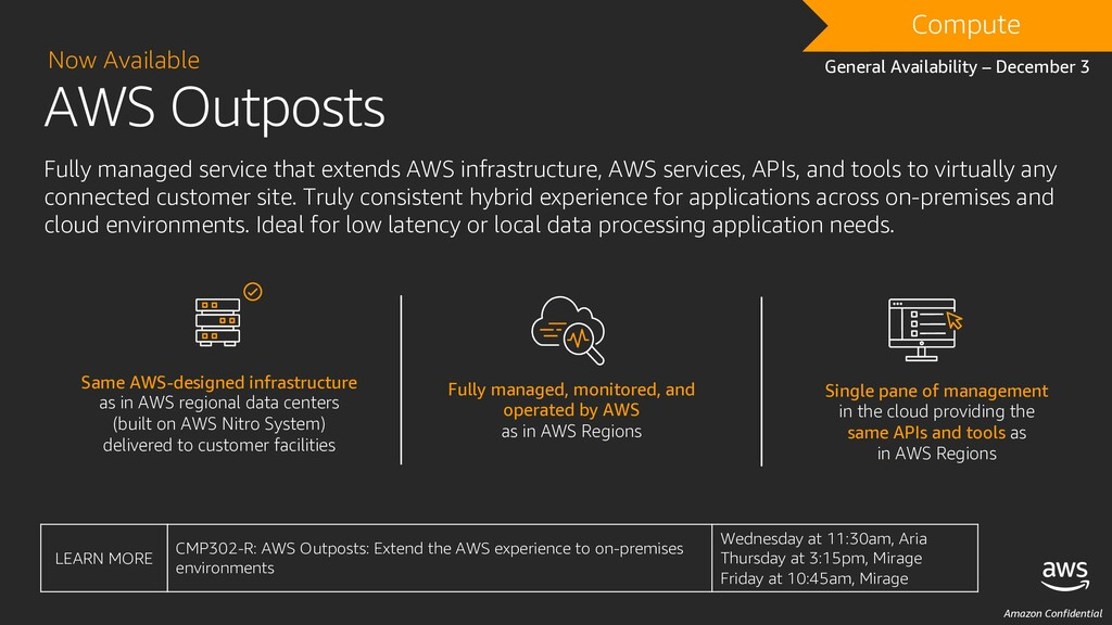 Amazon Confidential AWS Outposts Now Available ...