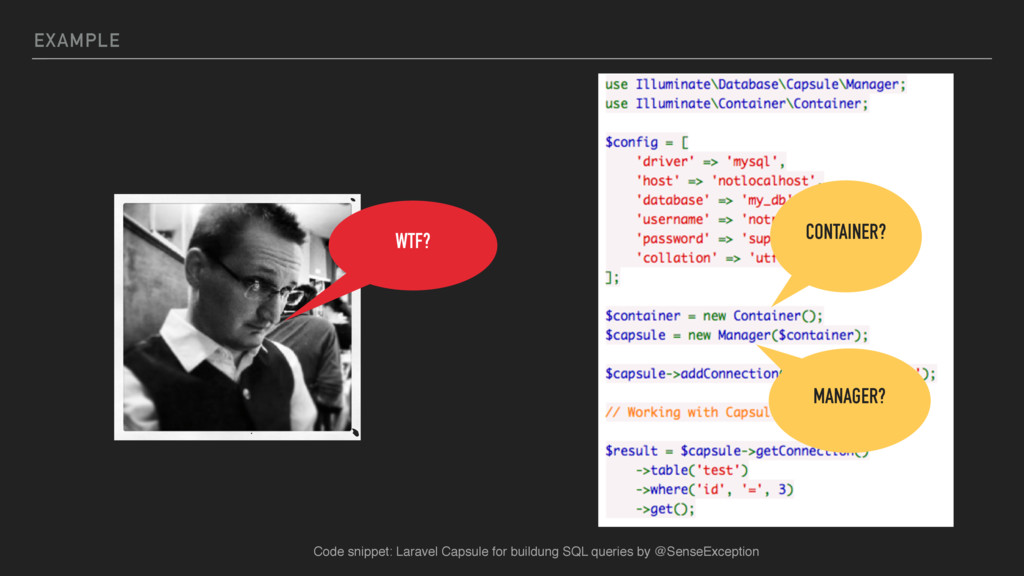 EXAMPLE WTF? CONTAINER? MANAGER? Code snippet: ...