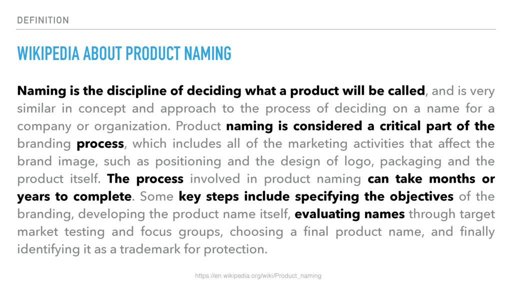 DEFINITION WIKIPEDIA ABOUT PRODUCT NAMING Namin...