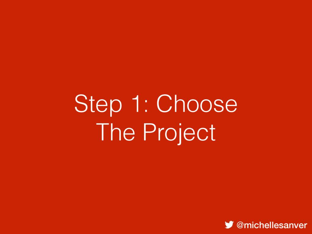@michellesanver Step 1: Choose The Project