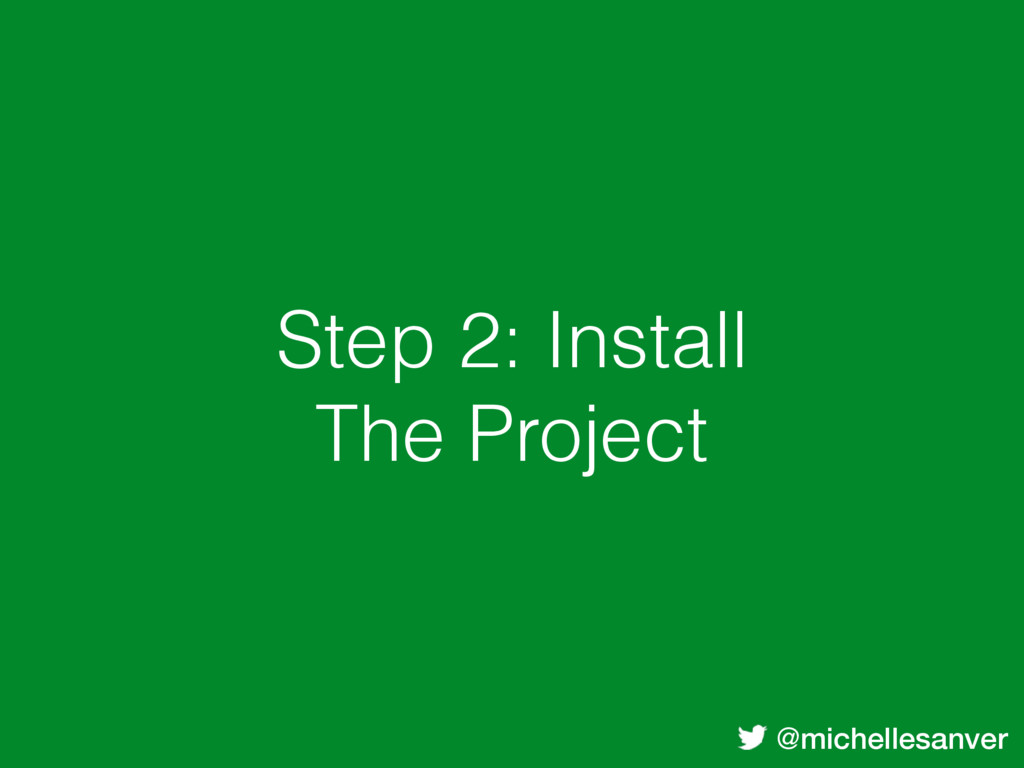 @michellesanver Step 2: Install The Project