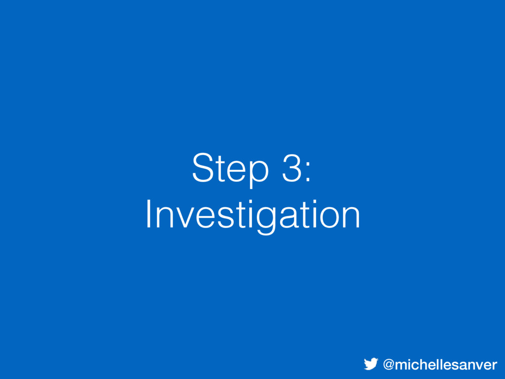 @michellesanver Step 3: Investigation