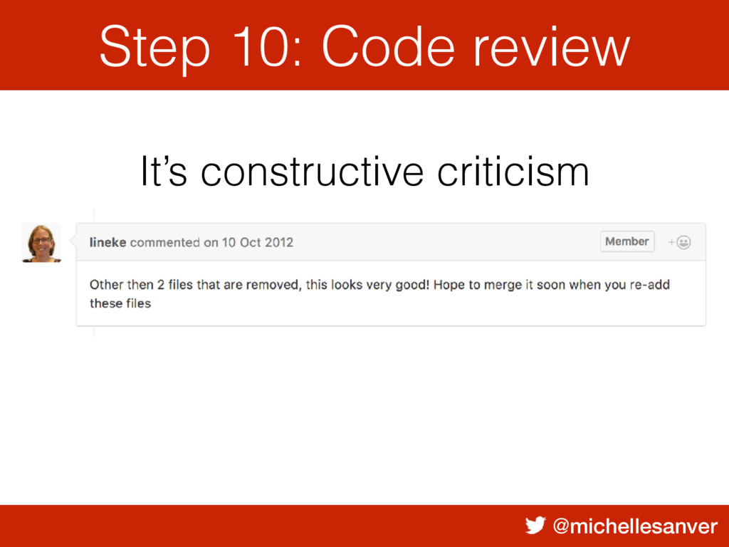@michellesanver It's constructive criticism Ste...