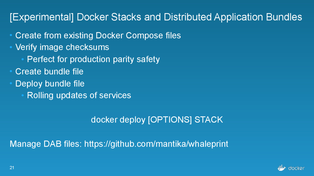 21 [Experimental] Docker Stacks and Distributed...