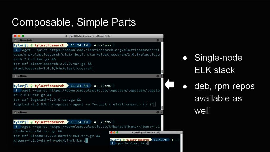 Composable, Simple Parts ● Single-node ELK stac...