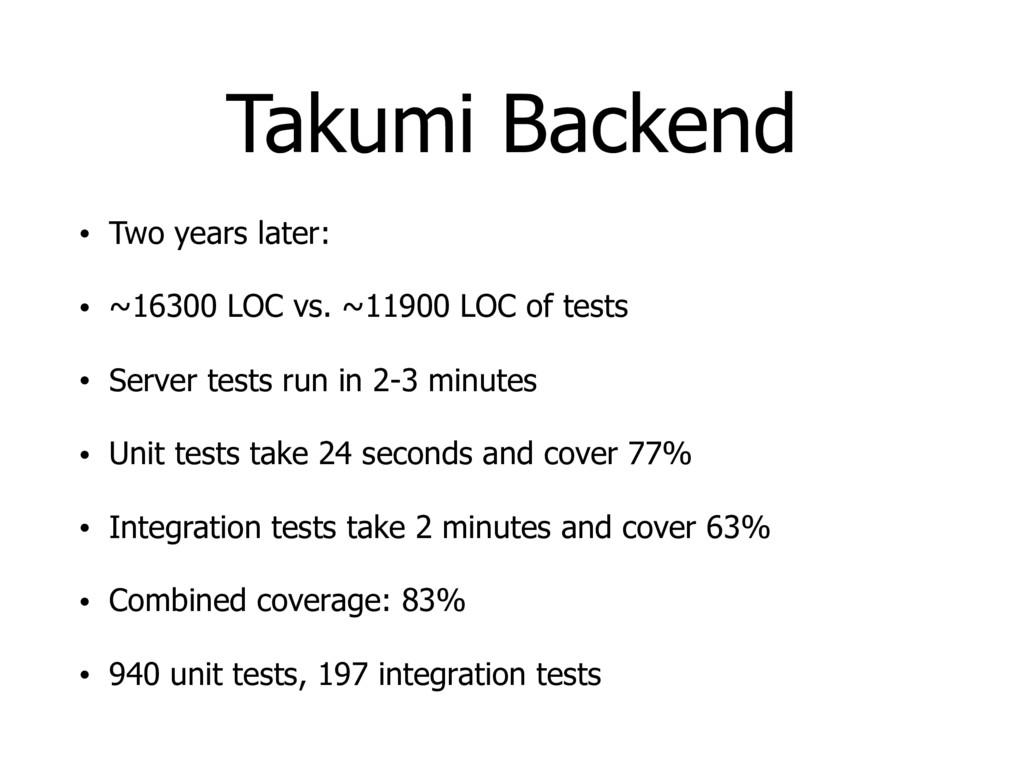 Takumi Backend • Two years later: • ~16300 LOC ...