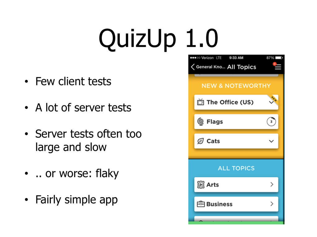 QuizUp 1.0 • Few client tests • A lot of server...