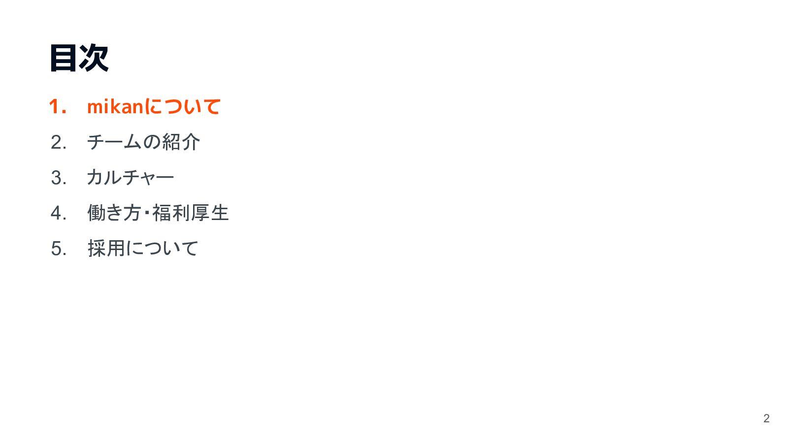 目次 1. 株式会社mikanについて 2. チームの紹介 3. 未来 4. カルチャー 5....