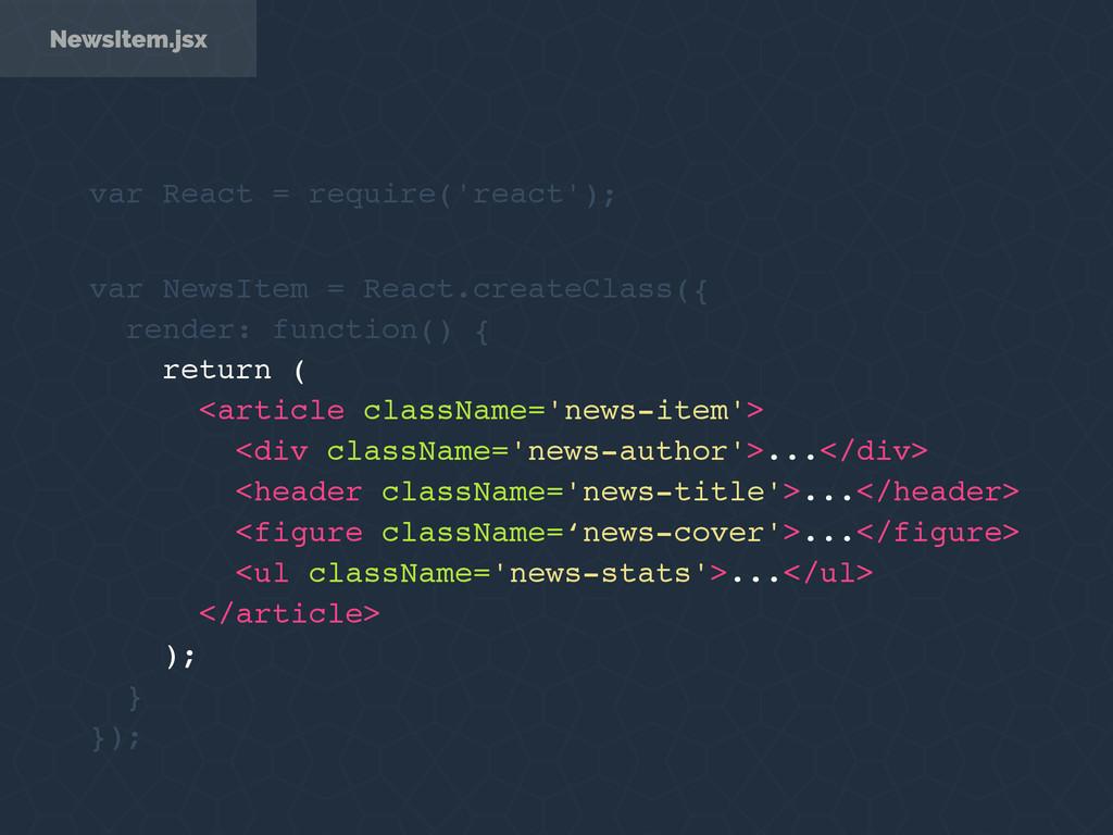 NewsItem.jsx var NewsItem = React.createClass({...