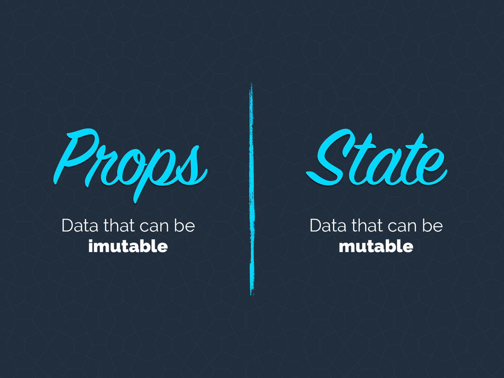 Props State Data that can be imutable Data that...