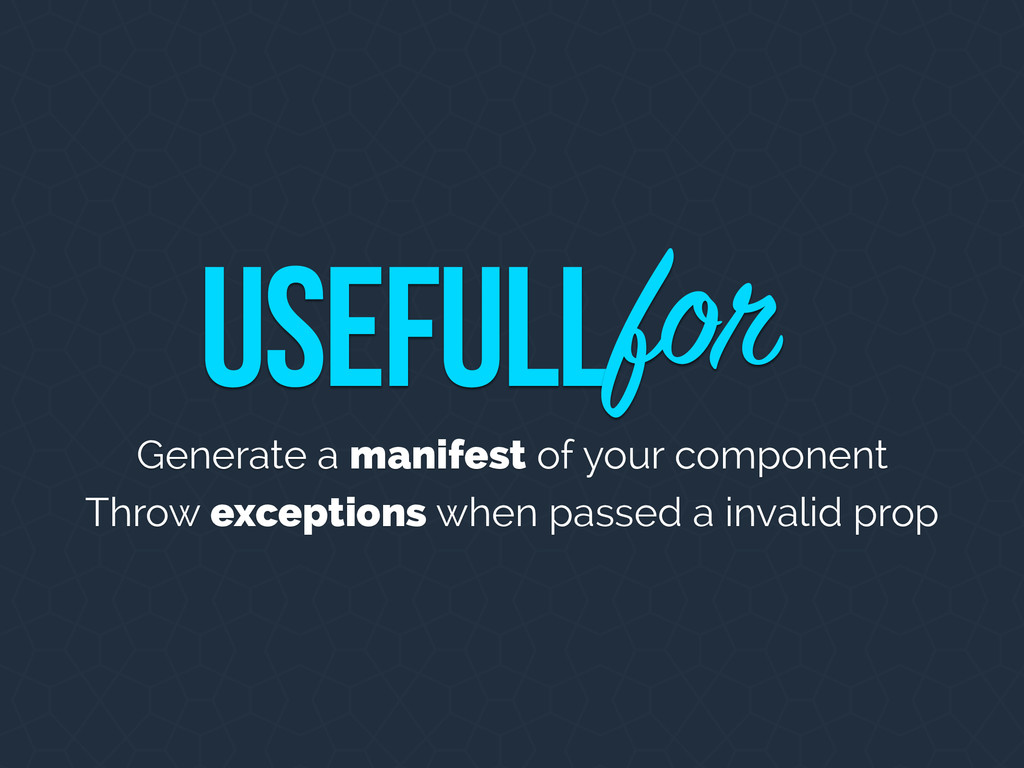 Generate a manifest of your component Throw exc...