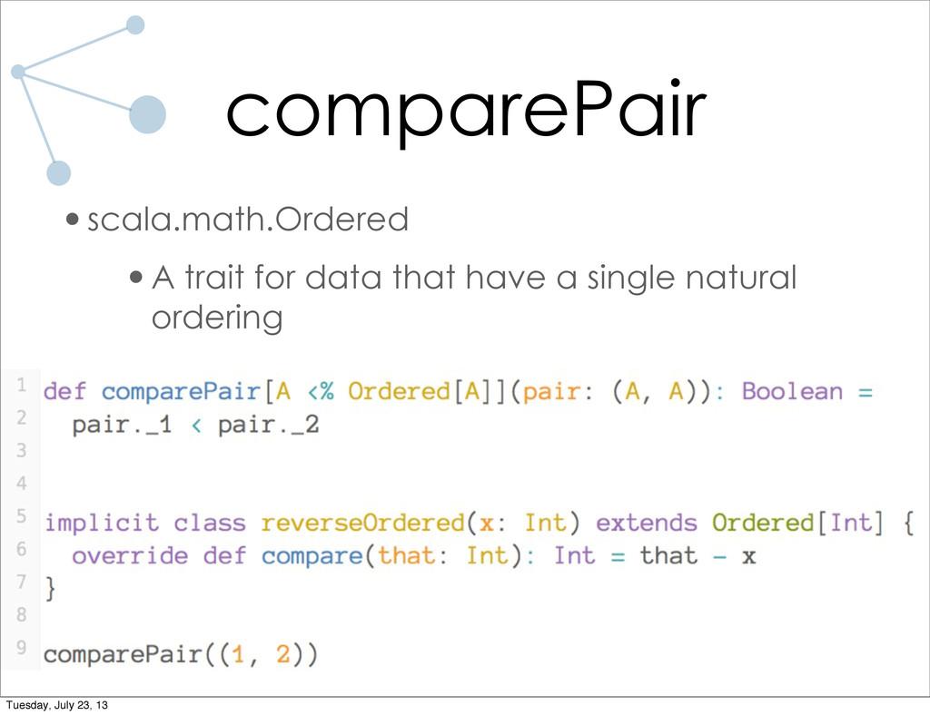 comparePair •scala.math.Ordered •A trait for da...