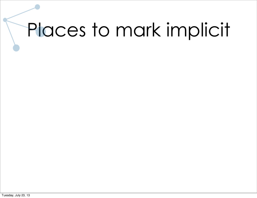 Places to mark implicit Tuesday, July 23, 13
