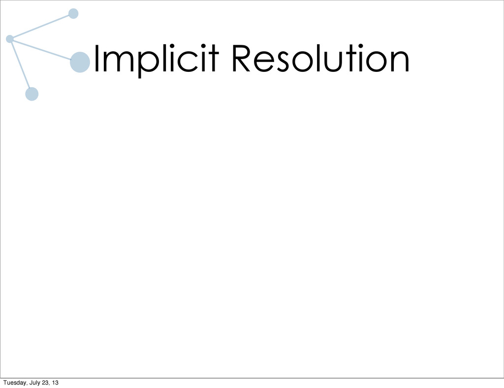 Implicit Resolution Tuesday, July 23, 13