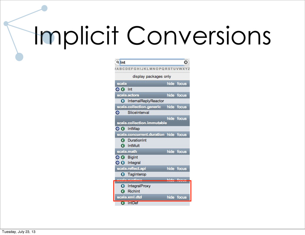 Implicit Conversions Tuesday, July 23, 13