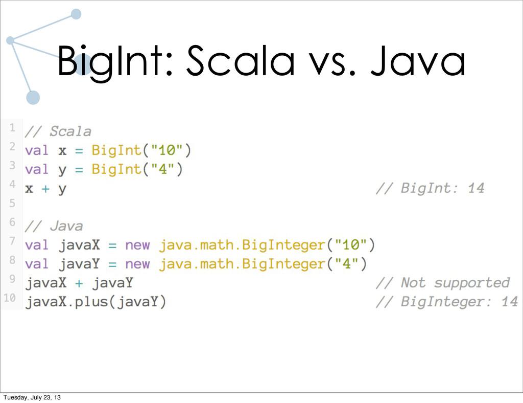 BigInt: Scala vs. Java Tuesday, July 23, 13