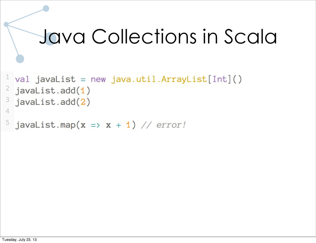 Java Collections in Scala Tuesday, July 23, 13