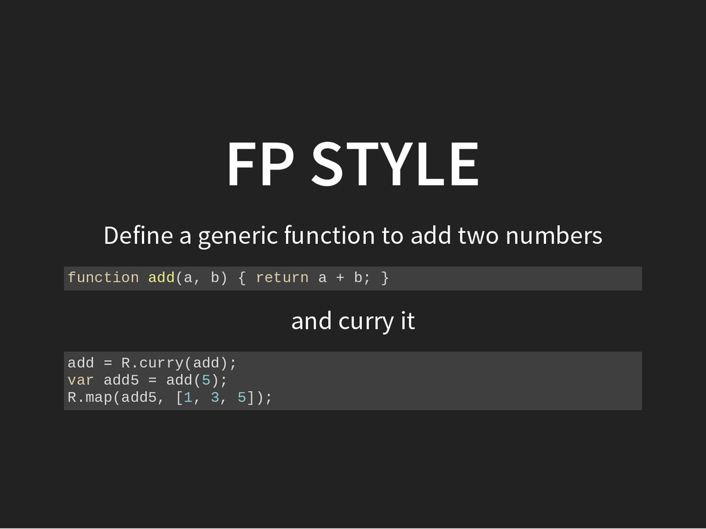FP STYLE Define a generic function to add two n...