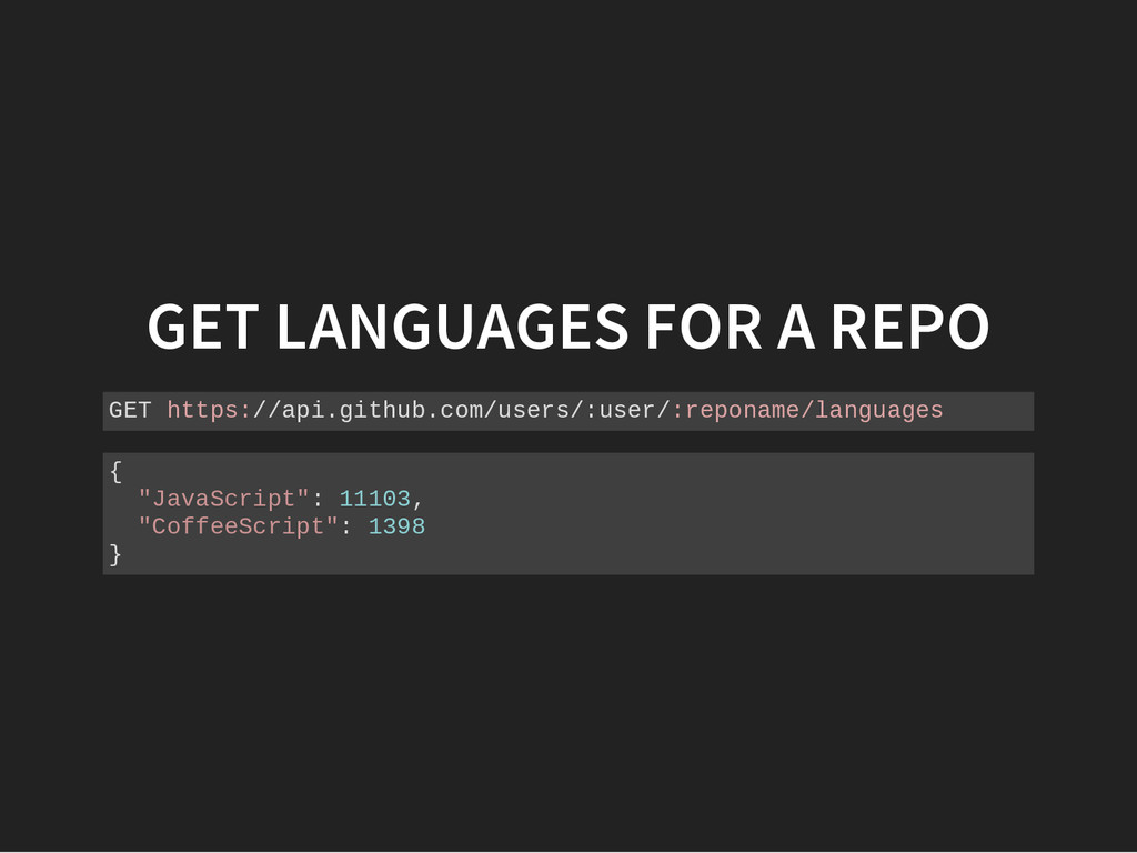 GET LANGUAGES FOR A REPO G E T h t t p s : / / ...