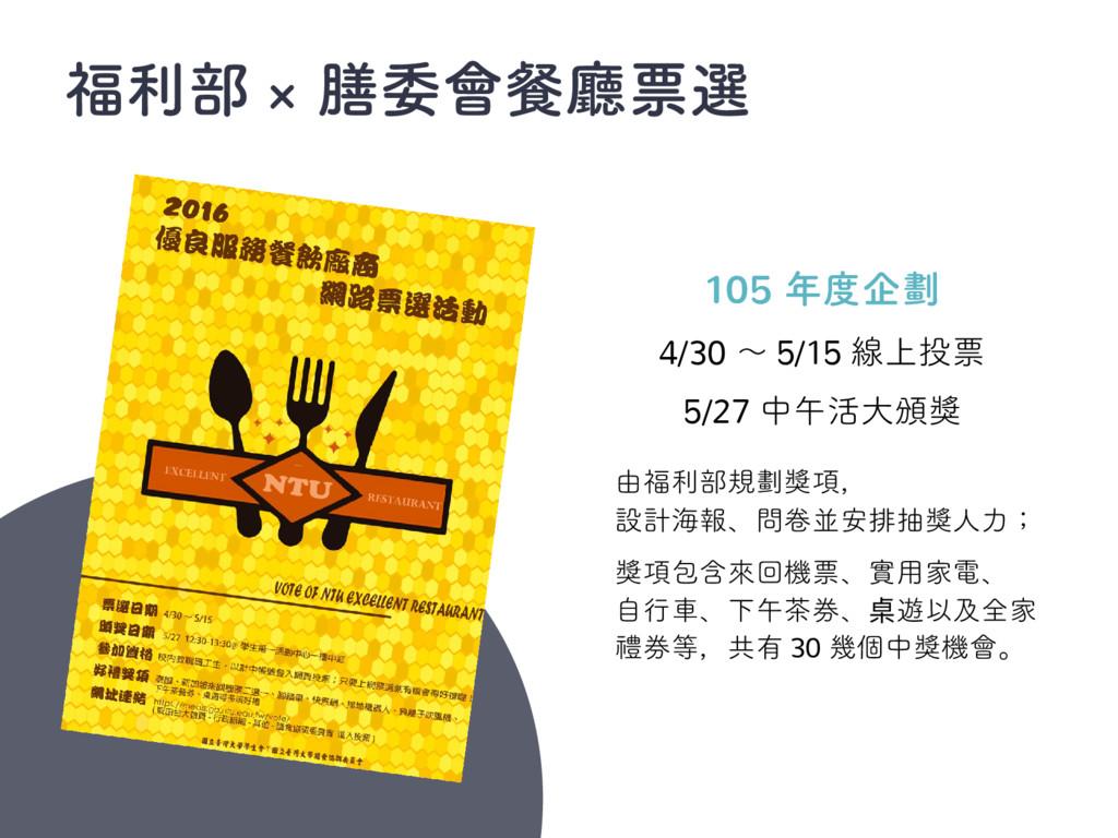 福利部 × 膳委會餐廳票選 105 年度企劃 4/30 ~ 5/15 線上投票 5/27 中午...