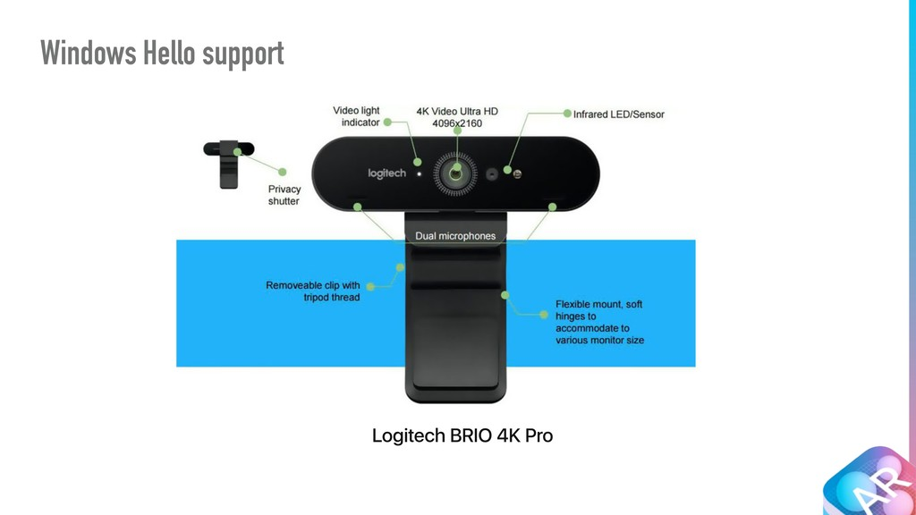 Windows Hello support Logitech BRIO 4K Pro